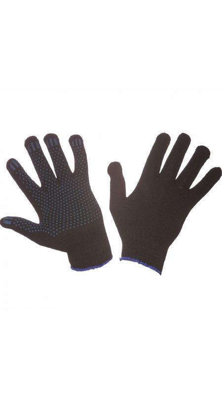 Перчатки трикотажные 5-ти нитка черные с ПВХ (точка), ПЕРЧАТКИ